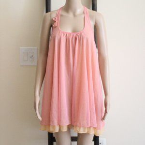 Betsey Johnson Pink Orange Sheer Dress Sleeveless